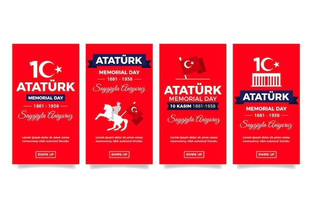 Coleção de histórias do instagram do flat ataturk memorial day