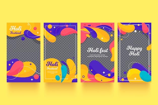 Coleção de histórias do instagram do flat holi festival