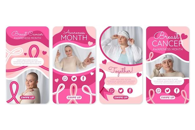 Coleção de histórias do instagram do mês da consciência do câncer de mama desenhada à mão