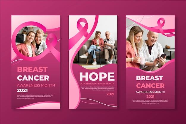 Coleção de histórias do instagram do mês de conscientização do câncer de mama com gradiente Vetor grátis