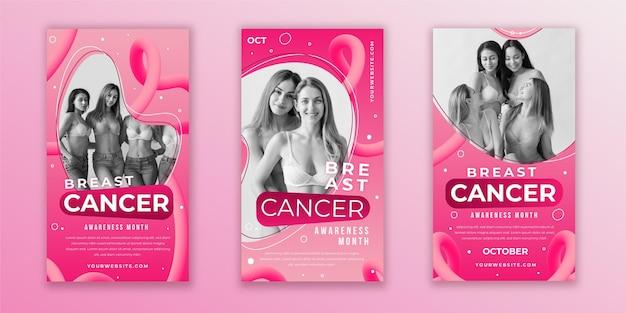 Coleção de histórias do instagram do mês de conscientização do câncer de mama com gradiente