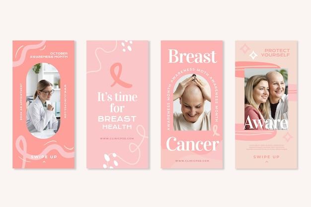 Coleção de histórias do instagram do mês de conscientização do câncer de mama desenhada à mão com foto