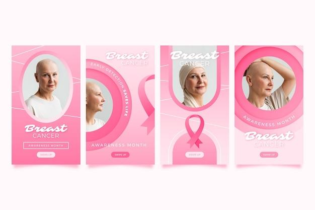 Coleção de histórias do instagram do mês de conscientização do câncer de mama em gradiente com foto