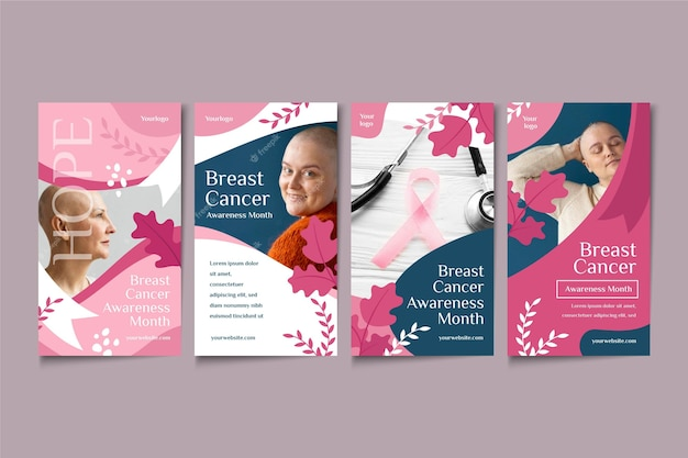 Coleção de histórias do instagram do mês de conscientização do câncer de mama plana com foto