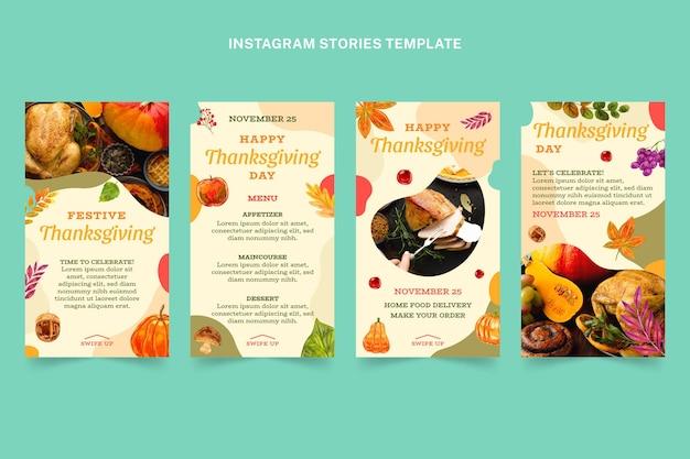 Coleção de histórias do instagram em aquarela de ação de graças