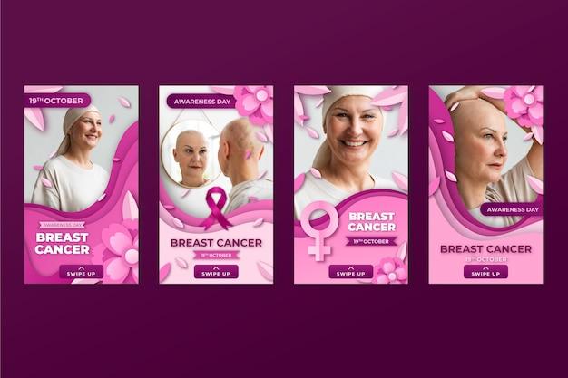 Coleção de histórias do instagram em estilo jornal do dia internacional contra o câncer de mama