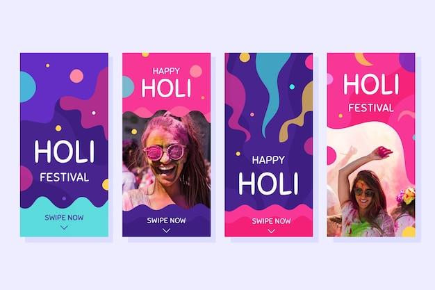 Coleção de histórias do instagram festival holi