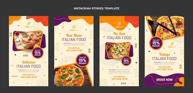 Coleção de histórias do instagram italiano plana