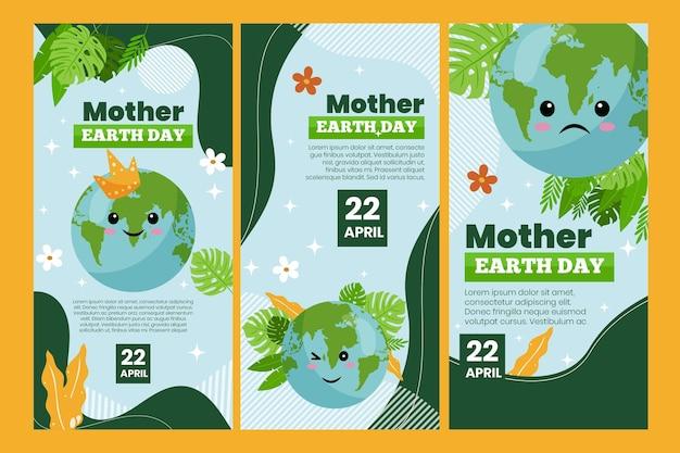 Coleção de histórias do instagram para a celebração do dia da mãe terra
