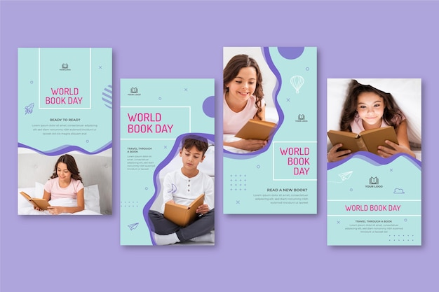 Coleção de histórias do instagram para a celebração do dia mundial do livro