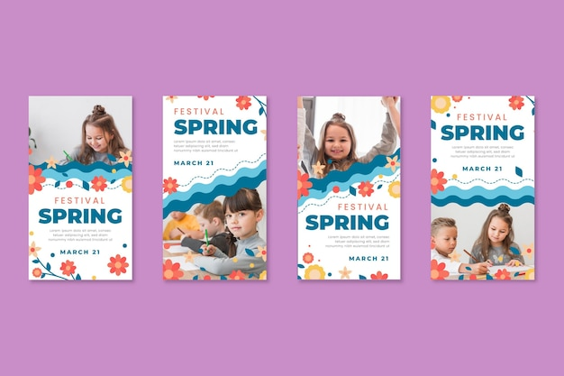 Coleção de histórias do instagram para a primavera com crianças