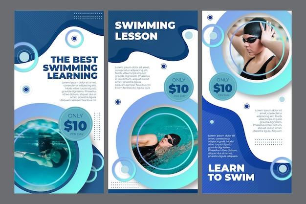 Coleção de histórias do instagram para aulas de natação