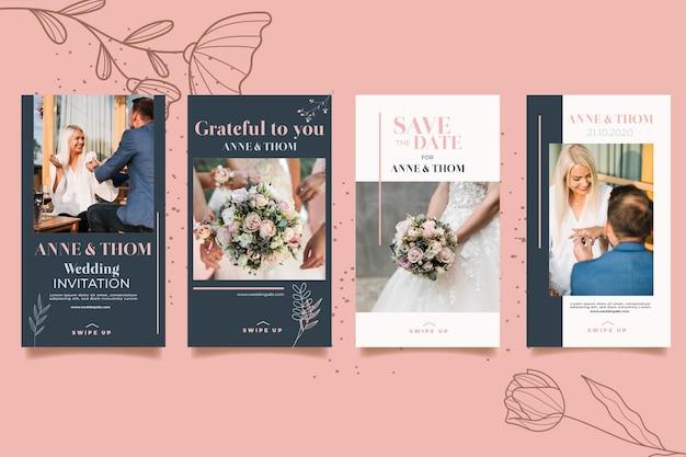 Coleção de histórias do instagram para casamento com flores
