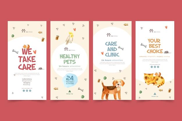 Coleção de histórias do instagram para clínica veterinária