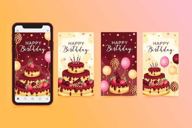 Coleção de histórias do instagram para comemoração de aniversário