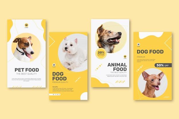 Coleção de histórias do instagram para comida de animais com cachorro