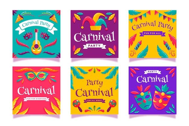 Coleção de histórias do instagram para festa de carnaval
