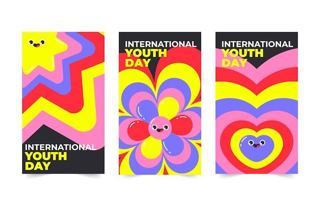 Coleção de histórias do instagram para o dia internacional da juventude