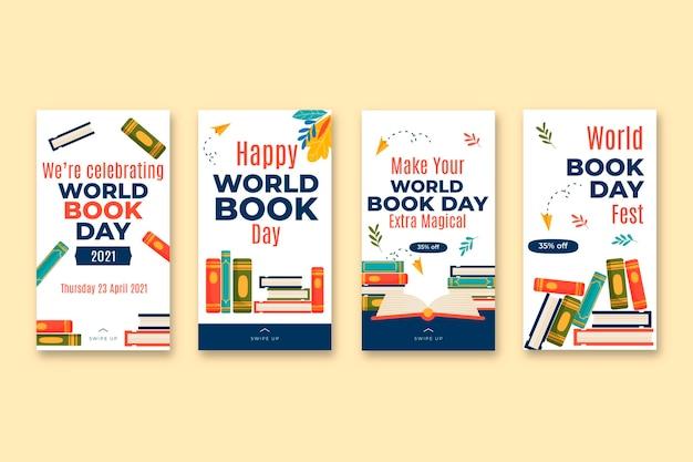 Coleção de histórias do instagram para o dia mundial do livro