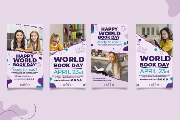 Coleção de histórias do instagram para o dia mundial do livro Vetor grátis