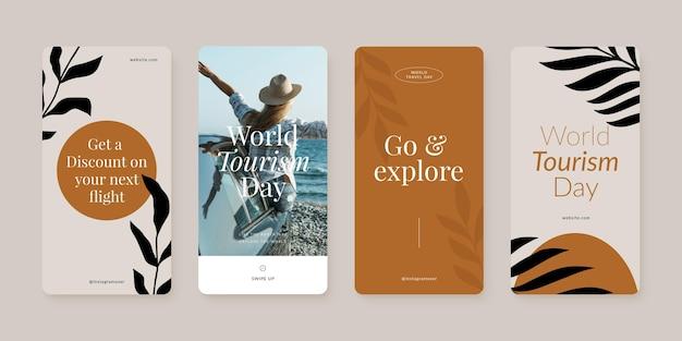 Coleção de histórias do instagram para o dia mundial do turismo com foto