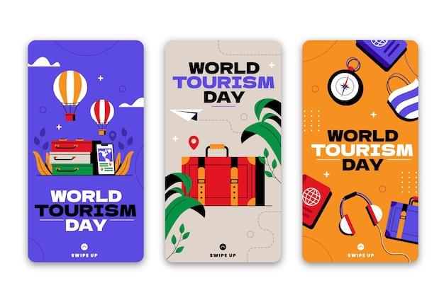 Coleção de histórias do instagram para o dia mundial do turismo