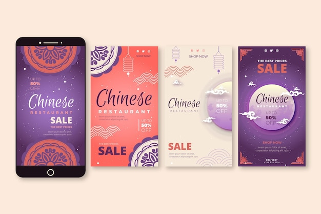 Coleção de histórias do instagram para restaurante chinês com lua