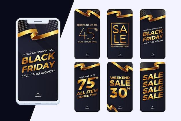 Coleção de histórias do instagram para sexta-feira negra em preto e dourado