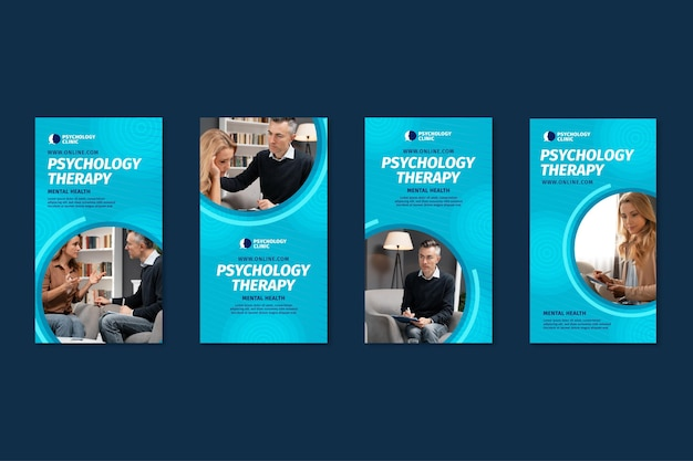 Coleção de histórias do instagram para terapia psicológica