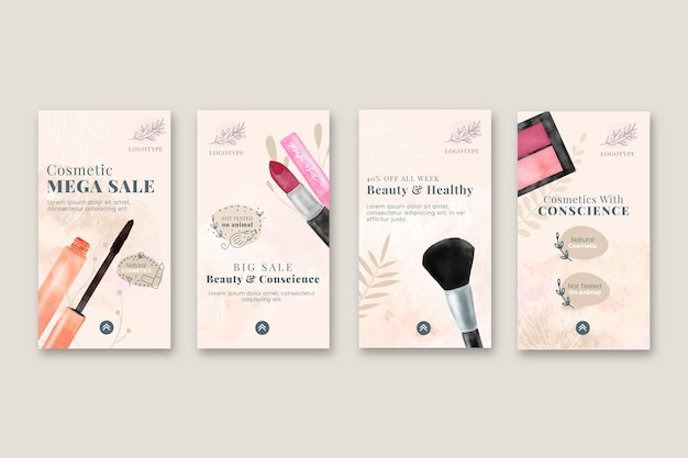 Coleção de histórias do instagram para venda de cosméticos