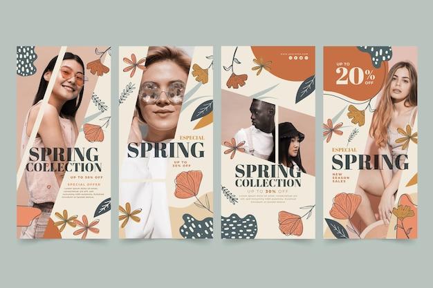 Coleção de histórias do instagram para venda de moda de primavera