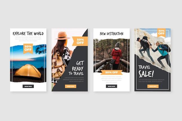Coleção de histórias do instagram para venda de viagens