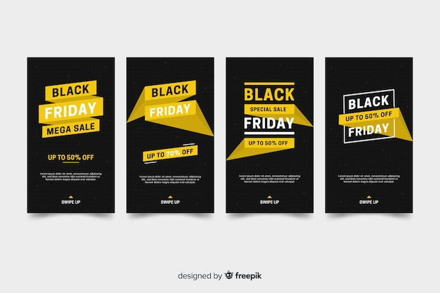 Coleção de histórias do instagram sexta-feira negra com informações douradas