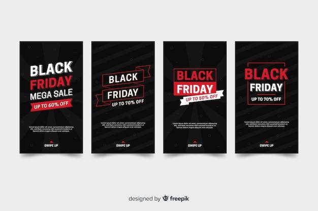 Coleção de histórias do instagram sexta-feira negra com informações vermelhas