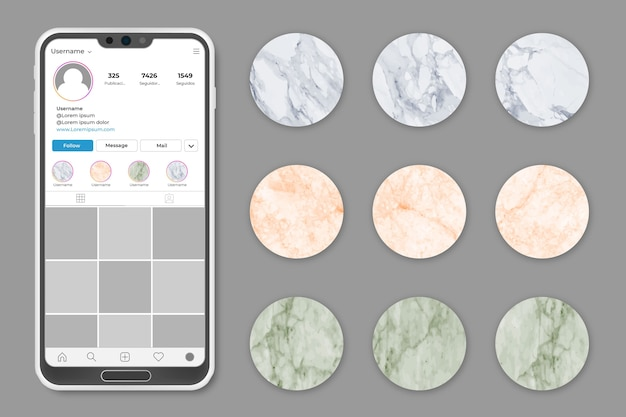 Coleção de histórias em mármore do instagram