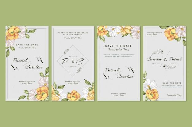 Coleção de histórias florais instagram para casamento