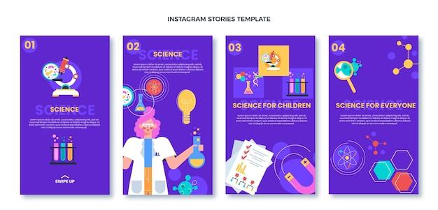 Coleção de histórias ig de ciência de design plano