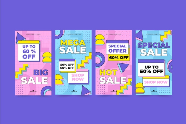 Coleção de histórias ig de venda de design plano