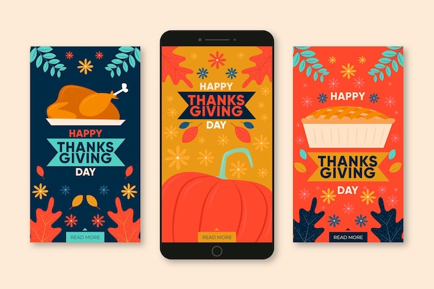 Coleção de histórias instagram de ação de graças de design plano
