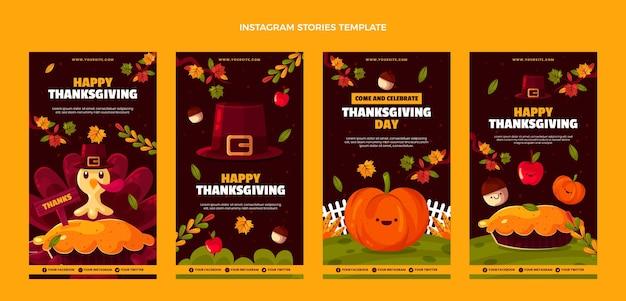 Coleção de histórias instagram de ação de graças plana