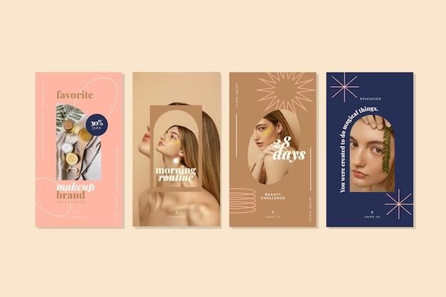 Coleção de histórias instagram de beleza plana e linear