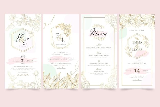 Coleção de histórias instagram de casamento floral