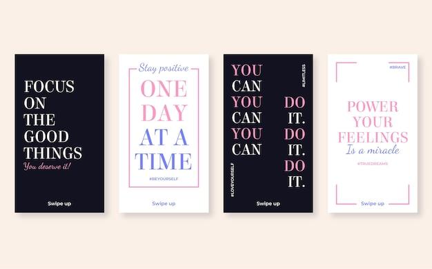 Coleção de histórias instagram de citações inspiradoras planas