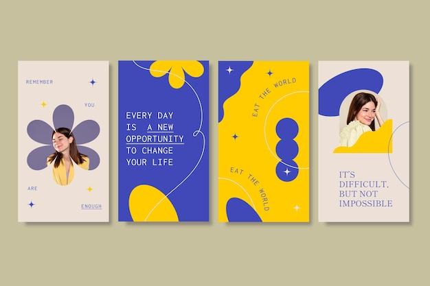 Coleção de histórias instagram de citações planas e orgânicas