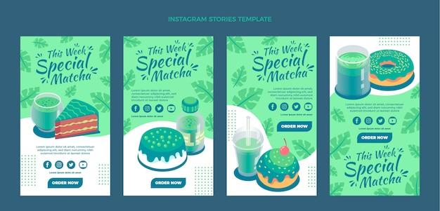 Coleção de histórias instagram de comida matcha plana