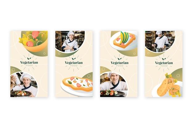 Coleção de histórias instagram de comida vegetariana gradiente