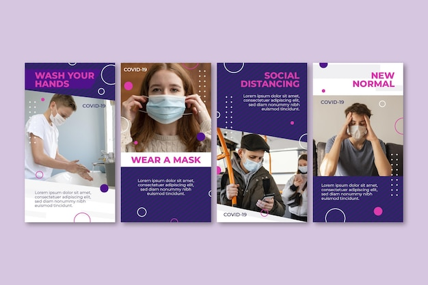 Coleção de histórias instagram de coronavírus de design plano