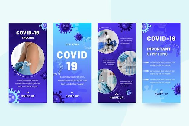 Coleção de histórias instagram de coronavírus gradiente Vetor grátis