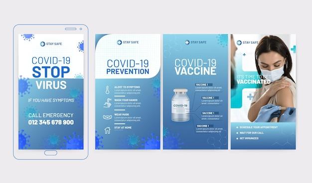 Coleção de histórias instagram de coronavírus gradiente