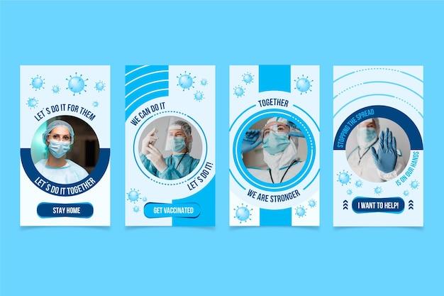 Coleção de histórias instagram de coronavírus plana